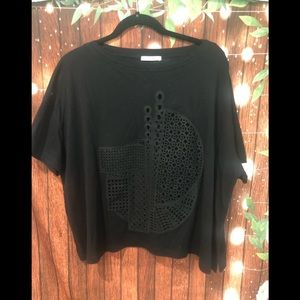 NWOT Zara Black laser cut black tee size medium